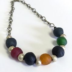 Mixed Recycled Glass Bead Necklace by RisingVillage on Etsy