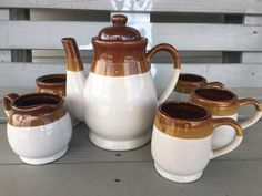 Vintage terracotta tea set, tea pot and cups, coffee decanister and cups by MaggieBleus on Etsy