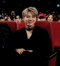 Awww I love jimin so much I can watch this alll day he's so cute shy to see himself on the jumbo screen I'm guessing