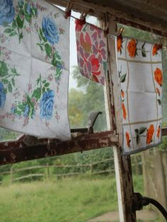 Vintage table linens hanging out to dry in a gentle breeze.