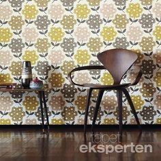 Rhodedendron by Orla Kiely - Yellow / Brown - Wallpaper : Wallpaper Direct Harlequin Wallpaper, Brown Wallpaper, Retro Wallpaper, Wallpaper Decor, Pattern Wallpaper, Framed Wallpaper, Wallpaper Designs, Flower Wallpaper, Wallpaper Ideas