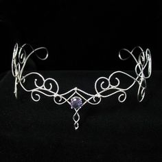 Elven Bridal Wedding Circlet Headpiece with Lab Created by Camias, $269.00