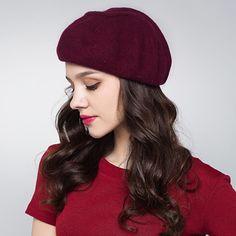 Autumn plain beret hat for women wool winter hats e99da1b7b450