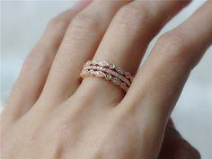 Three Diamond Eternity Ring Set Diamond Wedding Ring by InOurStar