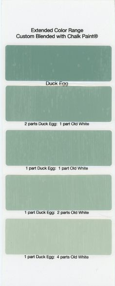 Duck Egg Blue is GREEN, not blue. Chalk Paint® Sample Board Colors- all in a row Duck Egg Blue Chalk Paint, Annie Sloan Chalk Paint Colors, Annie Sloan Paints, Chalk Paint Projects, Chalk Paint Furniture, Annie Sloan Farbe, Purple Painted Lady, Annie Sloan Furniture, Chalk Paint Kitchen