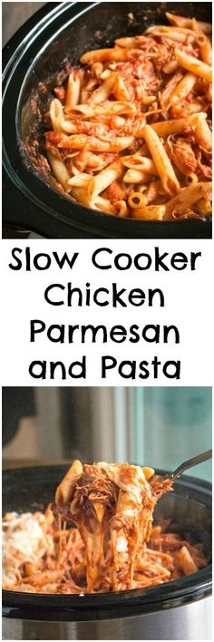Slow Cooker Chicken Parmesan and Pasta #simmeredintradition #ad @ragusauce