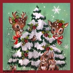 Vintage Christmas Deer Fabric Block Greeting by mermaidfabricshop