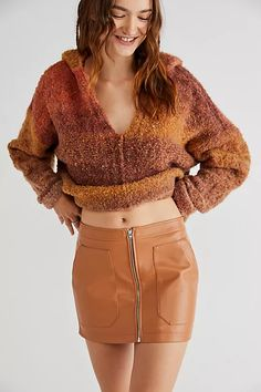 Maya Mod Vegan Mini Skirt | Free People Mini Skirts, Maya, Free People, Geometric Fashion, Vegan Leather, Zip Ups, Outfits, Suits, Mini Skirt