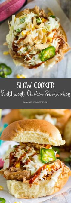 Slow Cooker Southwest Chicken Sandwiches via @ Southwest Chicken Wraps, Bbq Chicken Wraps, Chicken Sandwich, Recipe Using Chicken, Yummy Chicken Recipes, Healthy Recipes, Healthy Meals, Free Recipes, Gourmet