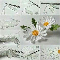 Crochet Flower Patterns Her Diy Crochet Flowers, Crochet Daisy, Crochet Flower Tutorial, Crochet Flower Patterns, Irish Crochet, Crochet Designs, Crochet Diagram, Crochet Motif, Crochet Lace