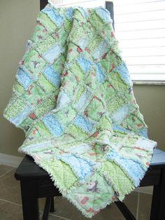 Mint Green Jungle Animal Rag Quilt for by noellebydesign on Etsy, $75.00