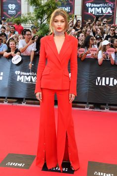 Gigi Hadid Is Red Hot in Her All Red Suit at the Much Music Awards