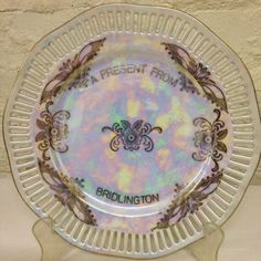 Reticulated Irridescent Souvenir Plate - A Present From Bridlington