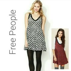 "FREE PEOPLE DAISY DOT MOLLY SWING DRESS So lovely and fresh! Black contrast trim. Free flowing.   33"" long. Size Medium. 51%viscose.  49% cotton.  Perfect condition! Black and white Free People Dresses"