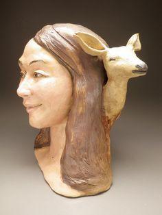 Ceramic Bust Sculpture Head Figure Art Animal by AdrienArt on Etsy