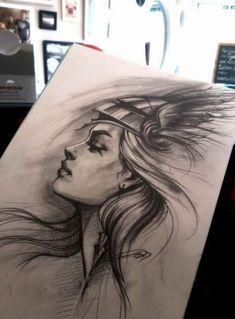 19 Super Ideen für Tattoo Girl Face Draw Kunstwerke – # – Famous Last Words Girl Face Tattoo, Girl Face Drawing, Tattoo Girls, Girl Tattoos, Warrior Tattoos, Viking Tattoos, Tatouage Artemis, Tattoo Sketches, Art Sketches