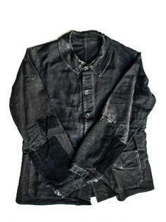 - 1930 black moleskin patched jacket - french workwear
