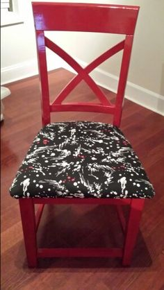 Cut chair legs down painted and cover seats