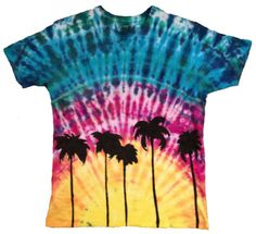 Hand tie dyed high quality Edun LIVE African cotton Adult Medium sustainable T-shirt hand painted with Palm Tree silhouettes.