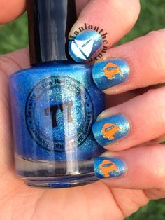 Finding Nemo Nail Art using Seventy Seven Lacquer I'll Drink To That!