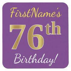 #Purple Faux Gold 76th Birthday  Custom Name Square Paper Coaster - cyo customize design idea do it yourself