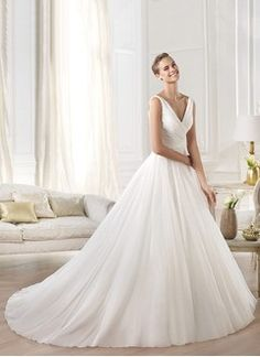A-Line/Princess V-neck Cathedral Train Chiffon Wedding Dress With Ruffle