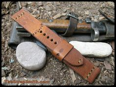New!! WWII ammo strap. To order please go to TheStrapSmith.com > click custom straps > scroll to vintage ammo straps > scroll down to V5! #vintageleather #Customleather #WW2 #omega #panerai #rolex #fashion #applewatch #armcandy #art #timepiece #thestrapsmith
