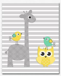 Grey, yellow and mint nursery art print -8x10-UNFRAMED- Children wall art, unisex, giraffe, bird, owl, neutral gender, animals, stripe, mint