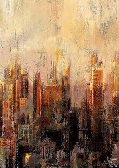 Julien Fesil Abstract City, Abstract Landscape, Art Haus, Cityscape Art, Muse Art, Modern Art Paintings, City Art, Artist Art, City Scapes