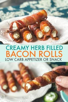 These creamy herb filled bacon rolls are sure to be a hit at your next party. As a low carb appetizer it's easy and delicious. The herb cream filling can be used on cucumber slices as well. #bacon #lowcarb #appetizer #lowcarbappetizer #lowcarbsnack #keto #lowcarbdieting #ketodieting #ketosnack #herbs