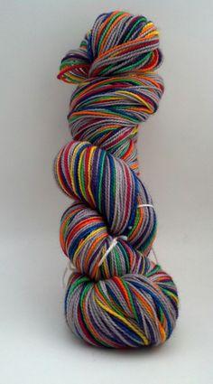Cloudy With a Chance of Rainbows -- grey and rainbow self striping sock yarn -- 80/20 merino/nylon by ManicPixieDreamYarn on Etsy https://www.etsy.com/listing/182444081/cloudy-with-a-chance-of-rainbows-grey