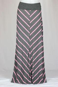 Pink and Gray Long Maxi Skirt