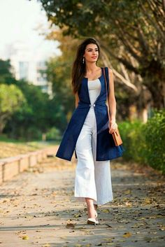 Fabels by Fabindia - The Wabi Sabi Collection on Behance (Love the vest! and the crops) Dress Indian Style, Indian Dresses, Indian Wear, Indian Outfits, Stylish Dresses, Trendy Outfits, Casual Dresses, Fashion Dresses, Casual Wear