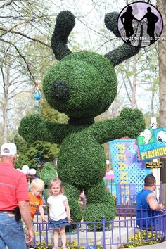 Snoopy topiary at Kings Dominion - photo by Racheal Yates (behindthethrills), via Flickr;  Kings Dominion is a themed amusement park in Doswell, Virginia 20 miles north of Richmond and 75 miles south of Washington, D.C.
