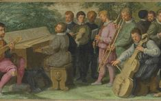 16th century—Venice, Italy: An oil painting from the Venetian School depicts a pastoral concert that includes trombone, cornett, cittern, clavichord, violin, and viol (see detail and full image below; public domain). Special thanks to David Van Edwards.