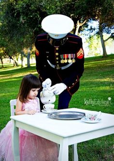 Tea Time with Daddy, I need to do this picture Air Force style @Raelynne Stueart we have to do this please!