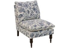 Daphne Slipper Chair, Indigo Floral | Perfect accent chair for any room in the house. Works for traditional, cottage or farmhouse decor. #Sponsored