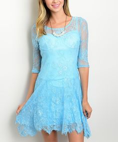 Love this Forever Lily Blue Lace Scoop Neck Dress by Forever Lily on #zulily! #zulilyfinds