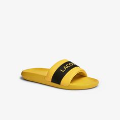 Lacoste Shoes, Lacoste Men, Men Slides, Pool Slides, Credit Card Transfer, Yellow Black, Best Deals, Shopping