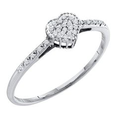 0.20 Carat (ctw) 10K Gold Round Cut White Diamond Heart Shaped Fashion Bridal Promise Ring 1/5 CT >>> Check this awesome image  : Promise Rings