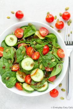 This crisp, refreshing Cherry Tomato & Spinach Salad recipe is an easy way to incorporate more vitamins, nutrients and antioxidants into your diet.