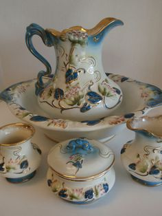 Antique Handpainted Wash Bowl Basin Chamber Set Pitcher Pots Vanity Lily Pads   1200.00