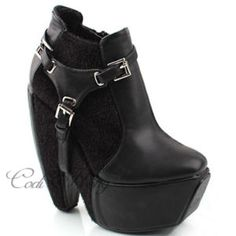 High Platform buckle ankle boots- ebay bargain