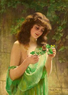 Frank Brooks,   A Girl With A Butterfly, 1854-1937