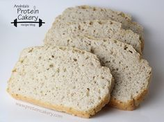 Prot: 16 g, Carbs: 13 g, Fat: 1 g, Cal: 127 -- A delicious Protein Oat Bread made with unflavored whey protein, and it's gluten-free! By Andréa's Protein Cakery.