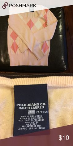 🎉HOST PICK🎉Ralph Lauren Sweater size XS Polo Jeans Co. Ralph Lauren Pink and white sweater size XS Polo by Ralph Lauren Sweaters
