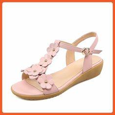 AalarDom Women's Open Toe Buckle Cow Leather Solid Low Heels Sandals, Pink, 37 - Sandals for women (*Amazon Partner-Link)