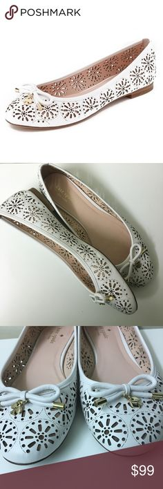 Kate Spade - Sz 9.5 'Walsy' White Laser Cut Flats Kate Spade - 9.5M White Walsy Laser Cut Flats *Worn Once* Purchased from Nordstrom, wore them once and they were too big ☹️ and have been sitting in my closet since. I hate to part with them bc they're so pretty but it doesn't make sense to keep them. The only sign of wear is on the soles. According to Nordstrom's website, these run big, so these would be perfect for someone who normally wears a 10. Perfect for Easter! kate spade Shoes Flats…