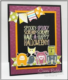 Freaky Friends, monsters, Halloween Card, Stampin' Up!, #stampinup.  Come take the Halloween blog hop brought to you by the Control Freak Swappers.  Connie Babbert, www.inkspiredtreasures.com