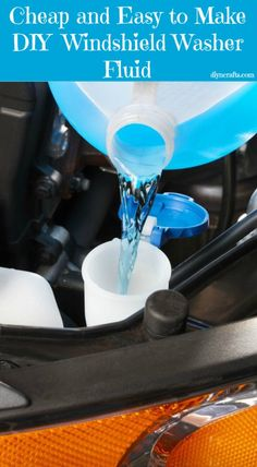 To make your own washer fluid, you just need to mix a gallon of water with 1 tablespoon of dish washing liquid and ½ cup of ammonia (for anti freeze or vinegar. You can also add a few drops of food coloring so that you know what the liquid is for.